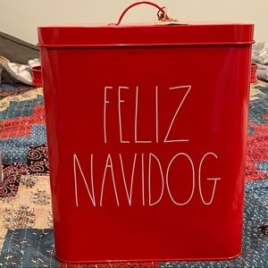 Rae Dun Holiday Dog Food Tin Feliz Navidog
